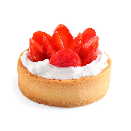 Delicious sweet pastry with berries on white background Imagens