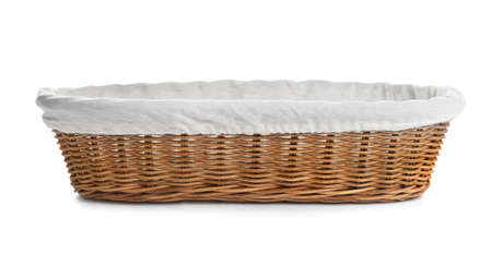 Empty wicker basket for bread on white background