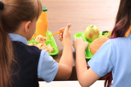 Little girls at table with healthy food in school canteen