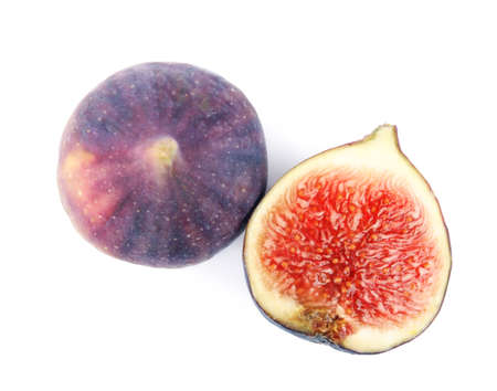 Tasty fresh fig fruits on white background, top view