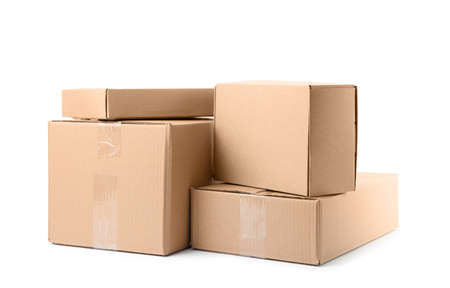 Pile of cardboard boxes on white background Standard-Bild - 129806744