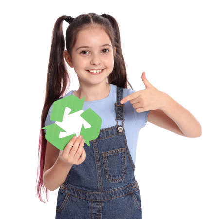 Girl with recycling symbol on white background 版權商用圖片