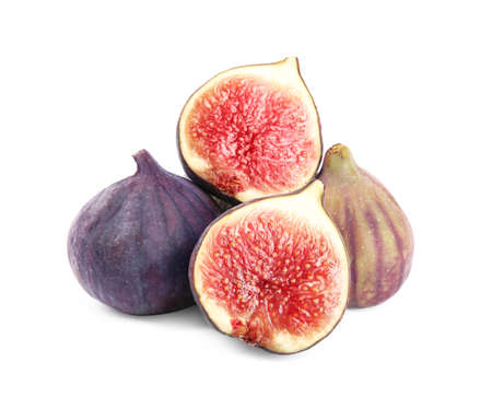 Tasty fresh fig fruits on white background