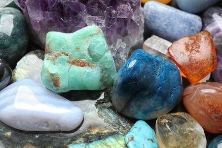 Different precious gemstones as background, closeup view 写真素材