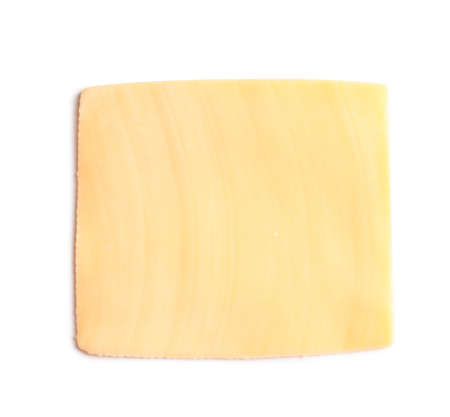 Slice of tasty cheese on white background, top view