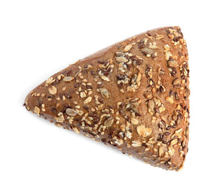 Fresh bread with different seeds on white background, top view 版權商用圖片
