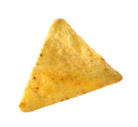 Tasty Mexican nacho chip on white background Imagens