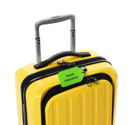 Yellow suitcase with TRAVEL INSURANCE label on white background