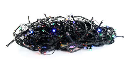 String of Christmas lights on white background