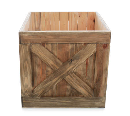 Old open wooden crate isolated on white