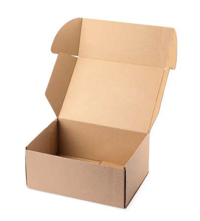 Open cardboard box on white background. Mockup for design