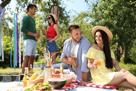 Jongeren genieten van picknick in het park op zomerdag