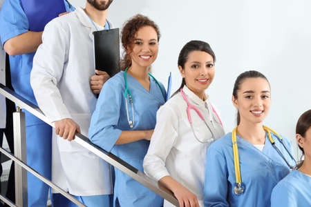 Team of medical workers in hospital. Unity concept
