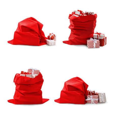 Set of Santa Claus red bags on white background Фото со стока