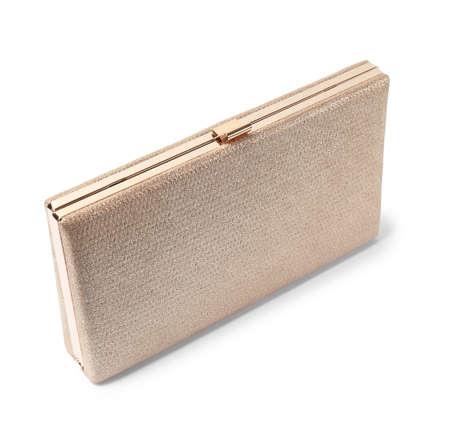Stylish female gold clutch on white background