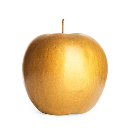 Gold painted fresh apple on white background Archivio Fotografico