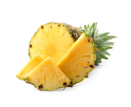 Tasty raw pineapple with slices on white background