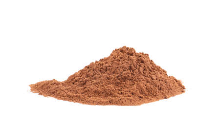 Pile of chocolate protein powder isolated on white Imagens