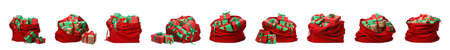 Set of Santa Claus red bags on white background 写真素材