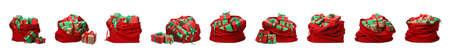 Set of Santa Claus red bags on white background 版權商用圖片