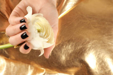 Woman with black manicure holding flower on golden background, closeup. Nail polish trends Imagens