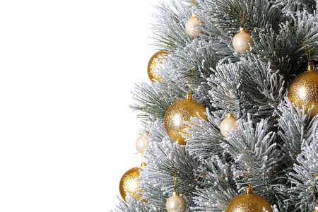 Beautiful Christmas tree with festive decor on white background