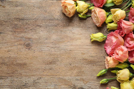 Flat lay composition with beautiful Eustoma flowers on wooden table, space for text Stockfoto