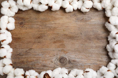 Frame of cotton flowers on wooden background, flat lay. Space for text