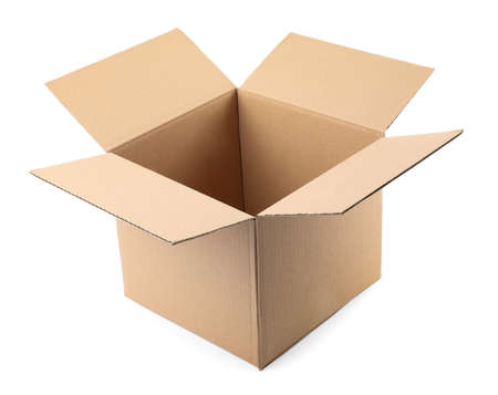 Open cardboard box on white background. Mockup for design Stockfoto