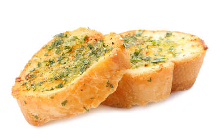 Slices of toasted bread with garlic, cheese and herbs on white background