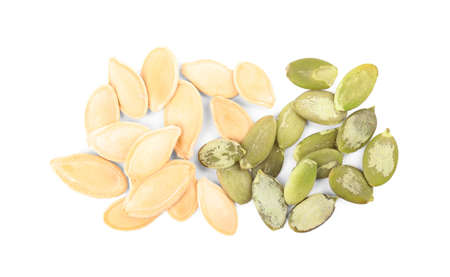 Pile of raw pumpkin seeds on white background, top view Фото со стока - 130074925