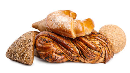Fresh breads and pastries on white background Фото со стока