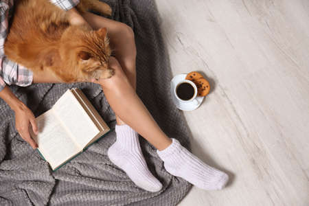 Woman with cute red cat and book on floor, top view. Space for text