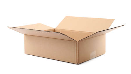 Open cardboard box on white background. Mockup for design 写真素材