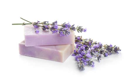 Hand made soap bars with lavender flowers on white background 写真素材