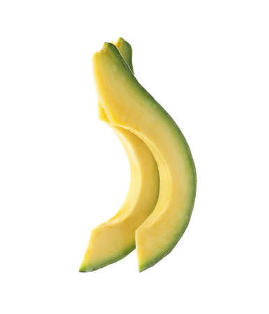 Slices of ripe avocado on white background Фото со стока