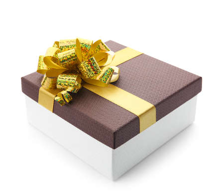 Beautiful gift box with bow on white background Stock Photo - 130130157