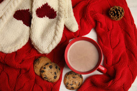 Flat lay composition with cup of hot cocoa on table. Winter drink Stok Fotoğraf