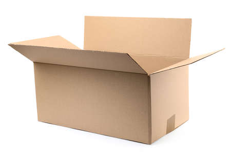 One open cardboard box on white background Stock Photo - 130132442