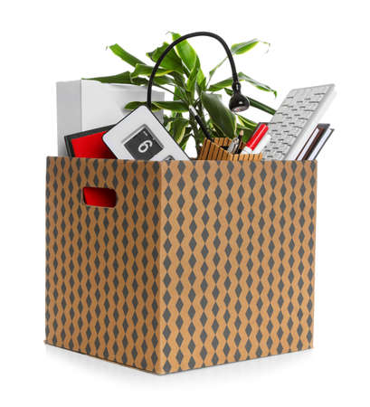 Moving box with stuff isolated on white. Work promotion concept Stock Photo