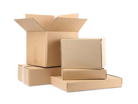 Pile of cardboard boxes on white background Stock Photo - 130132803
