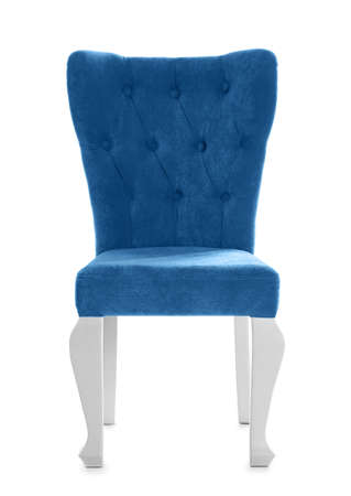 Stylish blue chair on white background. Element of interior design