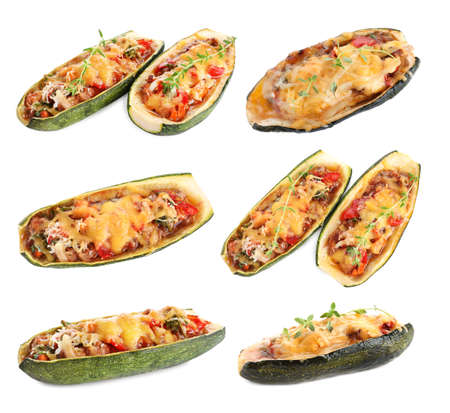 Set of delicious baked stuffed zucchini on white background Stock fotó