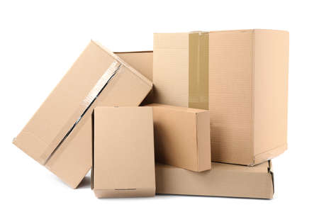 Pile of cardboard boxes on white background Stock Photo - 130132872