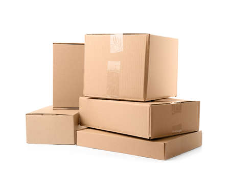 Pile of cardboard boxes on white background Stock Photo - 130132894