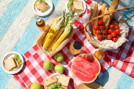Different products for summer picnic served on checkered blanket, flat lay