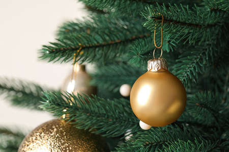 Beautiful Christmas tree with festive decor on white background, closeup Standard-Bild - 130133026