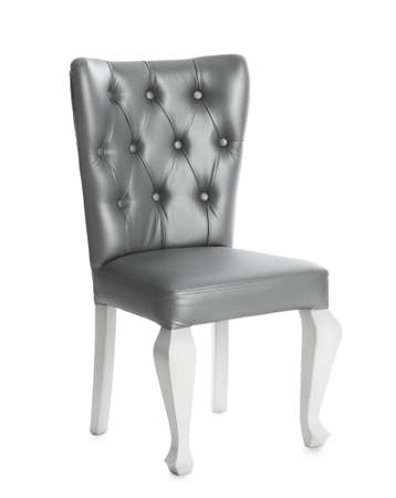 Stylish silver chair on white background. Element of interior design Stock fotó