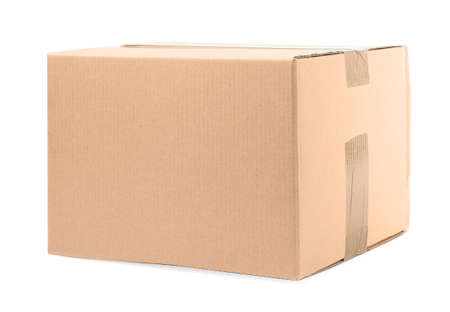 One closed cardboard box on white background Stock Photo - 130133097