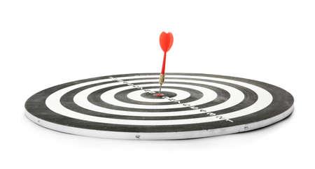 Red arrow hitting target on dart board against white background Stock fotó